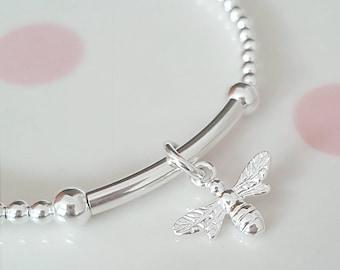 Sterling Silver Bee Bracelet, Silver Bee Bracelet, Bee Bracelet, Silver Bee, Bee, Gift For Her
