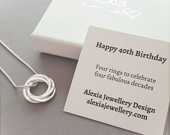 40th Birthday Necklace Gift For Her Ideas Daughter 4 Rings Decades Russian 40