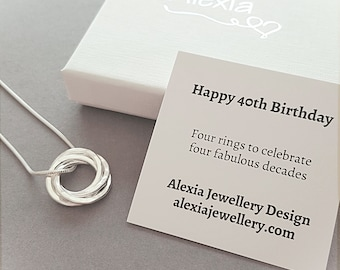 40th Birthday Gift For Her Ideas Daughter 4 Rings Decades Ring Necklace 40