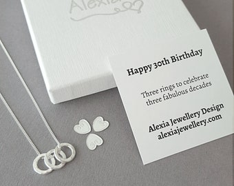 30th Birthday Gift For Her Ideas Daughter 3 Rings Decades Russian Ring Necklace