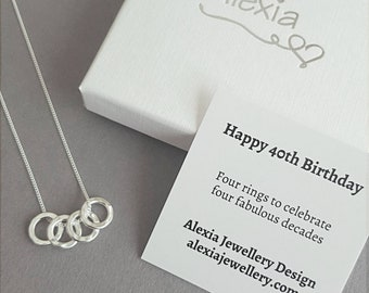 40th Birthday Gift For Her Ideas Daughter 4 Rings Decades Russian Ring Necklace