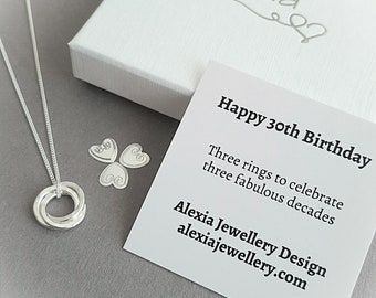 1dac72ba08319 30th Birthday Gift For Her 30th Birthday Ideas 30th Birthday Gift For  Daughter 3 Rings For 3 Decades Russian Ring Necklace 30th Birthday
