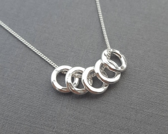 50th Birthday Gift For Her Ideas Daughter 5 Rings Decades Russian Ring Necklace