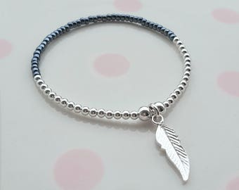 Sterling Silver Feather Bracelet/Feather Bracelet/Silver Feather/Feather Jewellery/Feather Jewelry/Feather Charm/Feather/Gift For Her