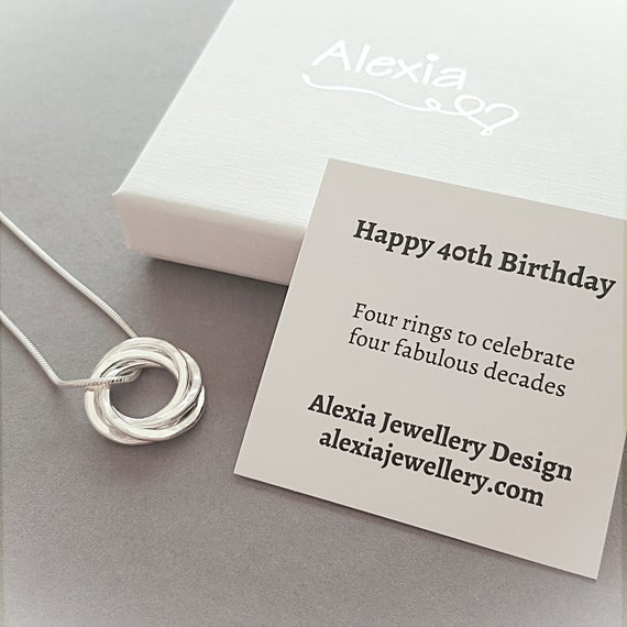 40th Birthday Silver Necklace Gift For Her Daughter Friend Jewellery