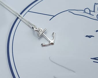 Anchor Necklace, Sterling Silver Anchor Necklace, Silver Anchor Necklace, Silver Anchor, Anchor Charm, Nautical Jewelry, Gift For Her
