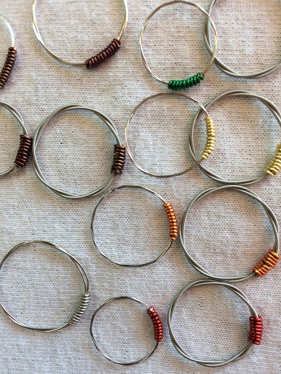 guitar string rings sizes 4 to 10 etsy. Black Bedroom Furniture Sets. Home Design Ideas