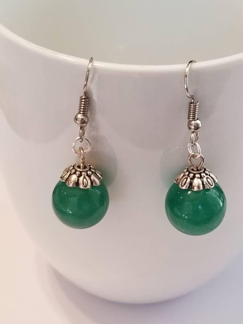 Sphere Pendant Earrings Ball Shape Green Color Orbs
