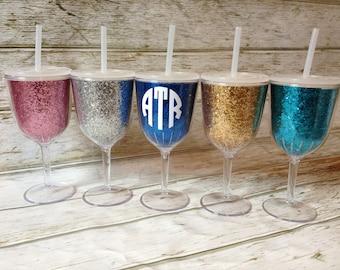 Glitter Wine Glass Tumbler - 13oz Acrylic Personalized Monogram