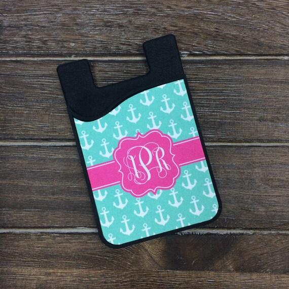 Preppy ancre carte Caddy téléphone portable portefeuille carte porte - Custom Design monogramme monogramme cadeaux