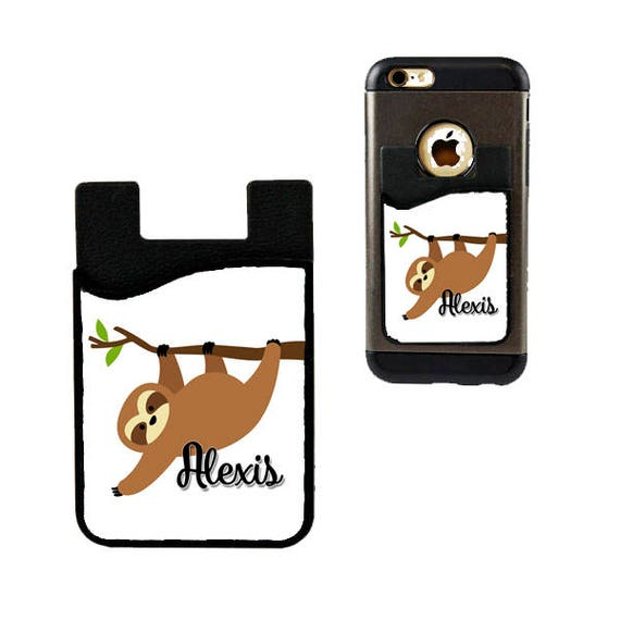 Cell Phone Card Holder >> Sleepy Sloth Cell Phone Card Holder Caddy With Name Personalized Photo Phone Wallet Custom Design Gifts Id Credit Card Iphone