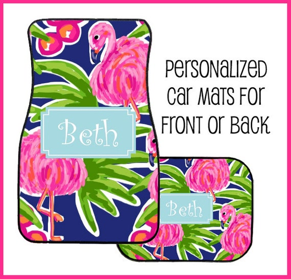 Personalized Pink Flamingo Tropical Design Car Mats For