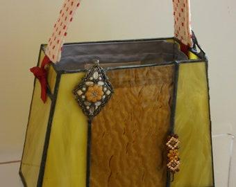 Mid century modern Yellow architectural Handbag