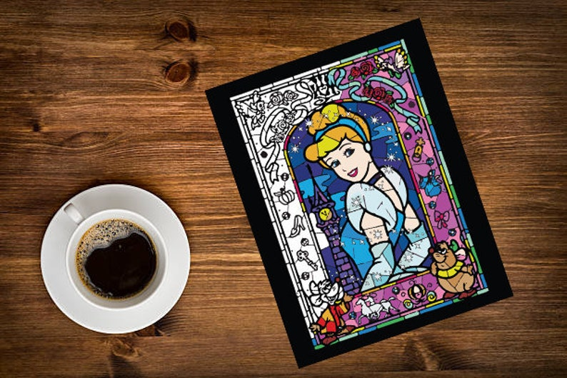 Cinderella Stain Glass Coloring Page Coloring for Adults | Etsy