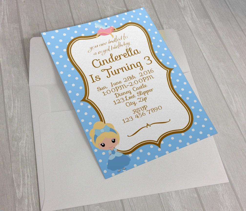 Cinderella Birthday Invitation Cinderella Invitation Disney | Etsy