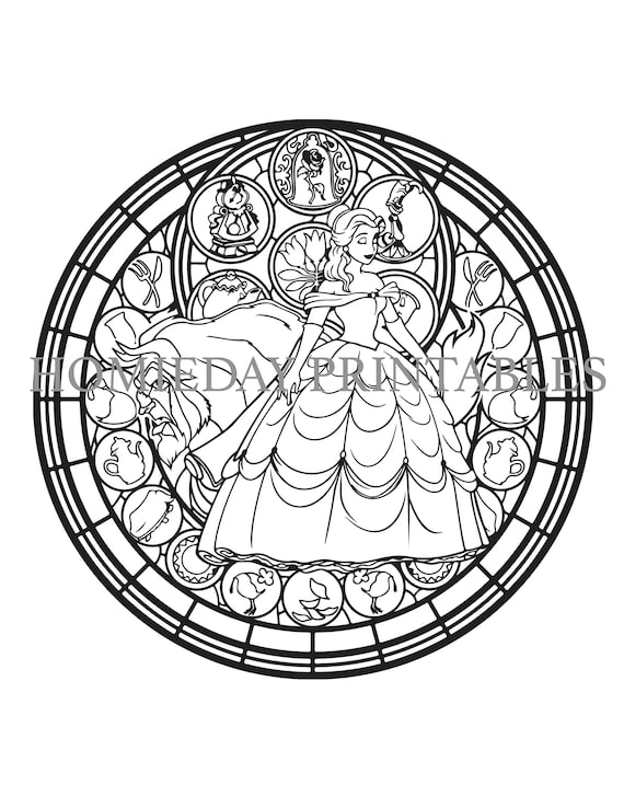 Beauty and the Beast Stain Glass Coloring Page Beauty and the | Etsy