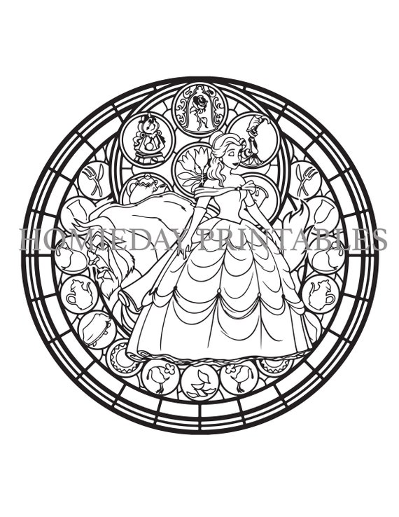 Beauty and the Beast Stain Glass Coloring Page, Beauty and the Beast  Coloring, Disney Coloring Page, Disney Princess Coloring Page, Disney
