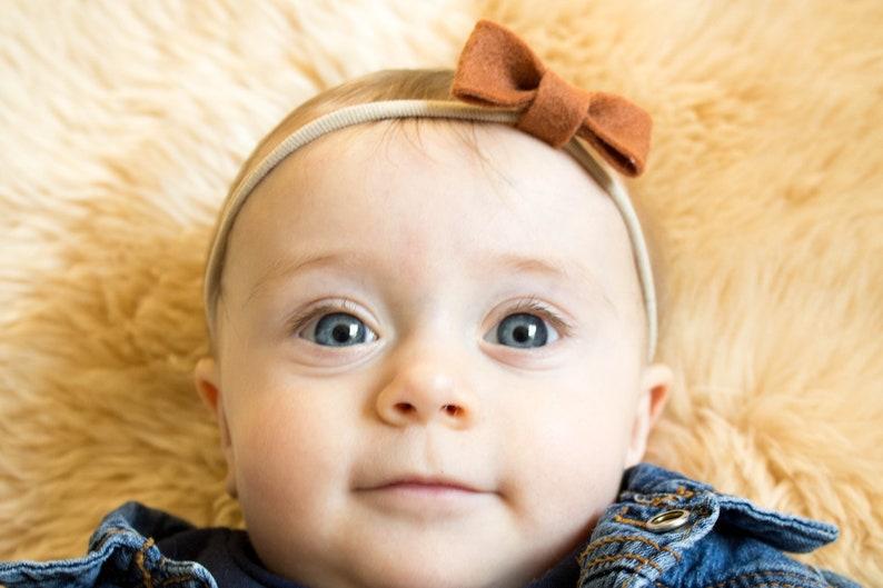 Wool Felt Classic Bow Baby Headband Infant bow headband Wool felt on nylon headband Baby Bow Choose your own color Felt hair bow