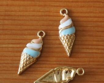 5 Ice Cream Cone Food Enamel Charms Pendants 8mm x 24mm 010