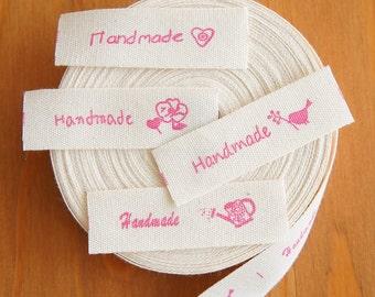 2 metres/ 10 metres: Cotton Fabric Label Handmade and Zakka Logo Rose 15mm Cut & Sew Scrapbooking Craft DIY