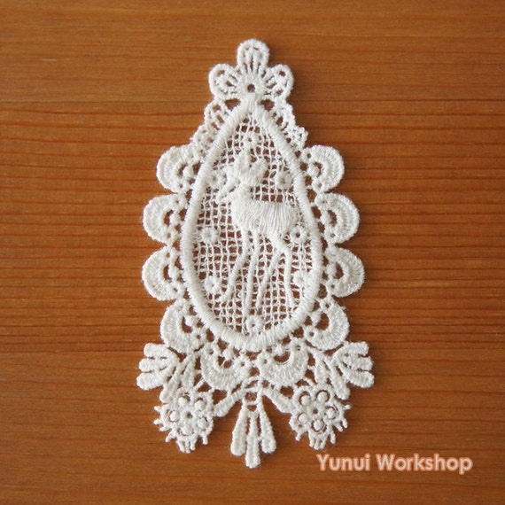 2pcs Scalloped Heart Rosebuds Cotton Lace Applique W 70mm Ivory DIY