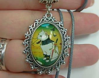 "Necklace ""Samurai cat_1"", cat pendant, cat necklace, cat cameo, kitten cameo, animal cameo, animal pendant"