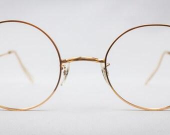 f10055ba3906 REAL Vintage 1950s Round 12K Gold Filled Glasses Size 48 Frames Eyewear