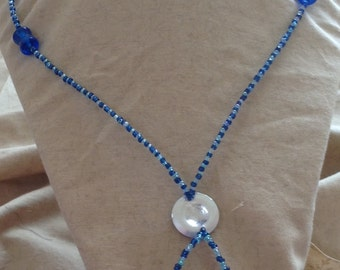 Blue bolero necklace, bolero necklace, blue necklace, beach necklace, blue necklace, summer necklace, unique gift, gift for her