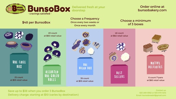 BunsoBox delivered right at your doorstep, 3 boxes delivered 3x, select frequency, delivery charge varies