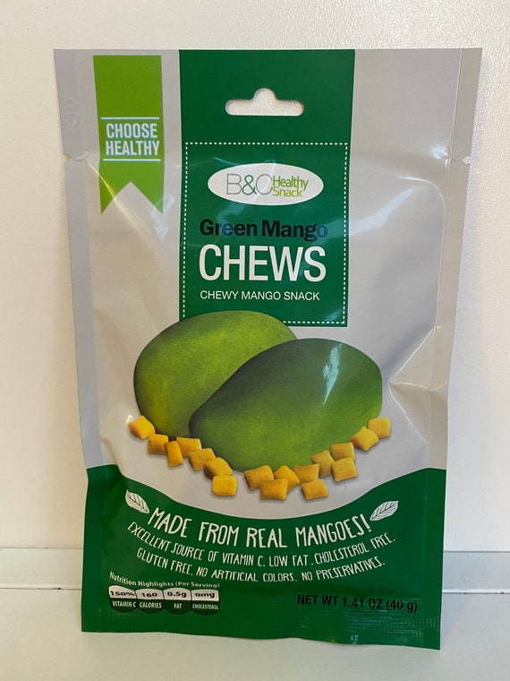 Set of 2 Green Mango Chews Made from Real Mangoes - Product of the Philippines