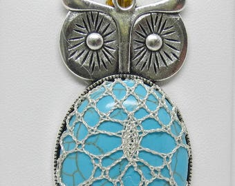 Bobbin Lace Owl Pendant: Blue Stone with Metallic Silver Thread Overlay