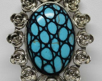 Bobbin Lace Pendant: Blue Stone with Black Silk Overlay, Complimentary Black Cord