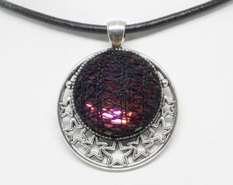 Bobbin Lace Moon and Stars Pendant: Rainbow Crystal with Black Silk Overlay, Complimentary Black Cord