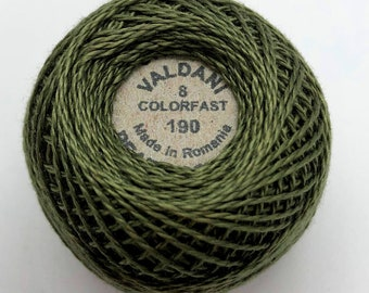 Valdani Pearl Cotton Thread Size 8 Solid: #190 Rich Olive Green