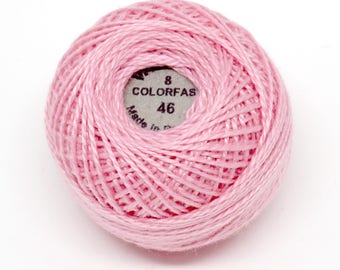 Valdani Pearl Cotton Thread Size 8 Solid: #46 Rich Pink