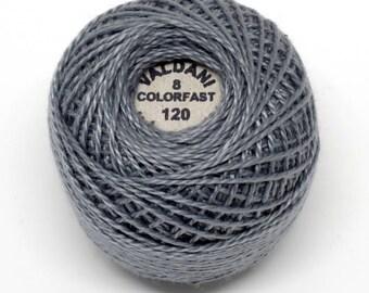 Valdani Pearl Cotton Thread Size 8 Solid: #120 Medium Gray