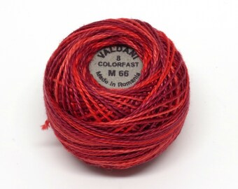 Valdani Pearl Cotton Thread Size 8 Variegated: #M66 Raspberry Fizz