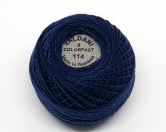 Valdani Pearl Cotton Thread Size 8 Solid: #114 Marine