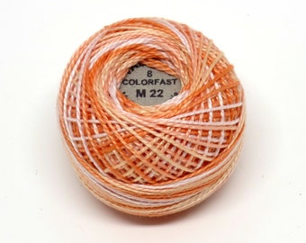 Valdani Pearl Cotton Thread Size 8 Variegated: #M22 Peaches