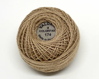 Valdani Pearl Cotton Thread Size 8 Solid: #174 Tea-Dyed Stone