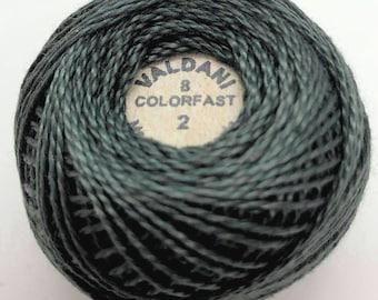 Valdani Pearl Cotton Thread Size 8 Solid: #2 Charcoal