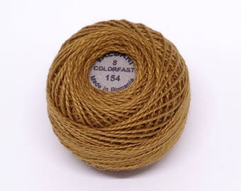 Valdani Pearl Cotton Thread Size 8 Solid: #154 Deep Antique Gold