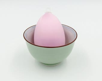 Satin Covered Egg Ornament: Light Pink