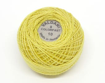 Valdani Pearl Cotton Thread Size 8 Solid: #10 Lemon