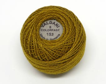 Valdani Pearl Cotton Thread Size 8 Solid: #153 Antique Gold