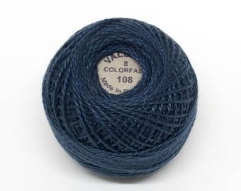 Valdani Pearl Cotton Thread Size 8 Solid: #108 Dusty Navy