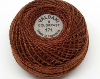 Valdani Pearl Cotton Thread Size 8 Solid: #171 Rich Brown