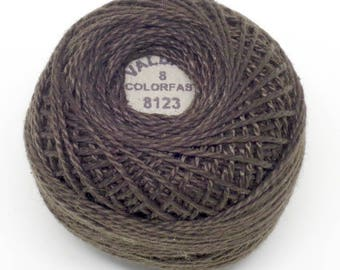 Valdani Pearl Cotton Thread Size 8 Solid: #8123 Brown Black Dark