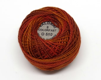 Valdani Pearl Cotton Thread Size 12 Variegated: #O510 Terracotta Twist