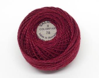 Valdani Pearl Cotton Thread Size 8 Solid: #78 Rusty Burgundy